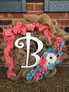 Floral burlap wreath by LoveRusticDecor2000 on Etsy