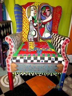 Handpainted Teacher Chair #funkyfurniture