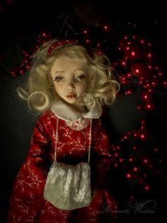 Handmade polymer clay BJD doll by Romantic Wonders Wool Fabric, Cotton Fabric, Handmade Polymer Clay, Custom Dolls, Ooak Dolls, Natural Leather, Vintage Dolls, Romantic, Christmas Ornaments
