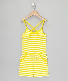 Look what I found on #zulily! Yellow & White Stripe Romper - Girls by Longstreet #zulilyfinds