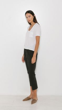 T by Alexander Wang Classic Cropped Tee with Pocket in White | The Dreslyn