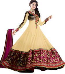Buy yellow embroidered Georgette semi stitched salwar with dupatta anarkali-salwar-kameez online