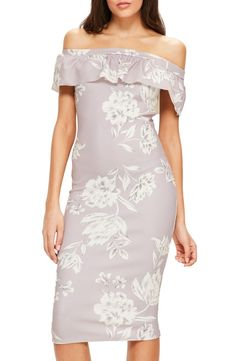 In love with this super-slim midi-length dress that has a ruffled off-the-shoulder neckline and pretty floral print.