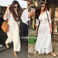 beat the heat in white chikankari kurtas and jootis Indian Attire, Indian Ethnic Wear, Indian Outfits, Salwar Designs, Kurta Designs Women, Chic Outfits, Trendy Outfits, Fashion Outfits, Indian Designer Suits