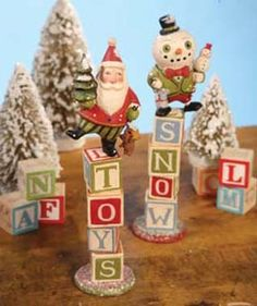 Christmas Toy Blocks by Greg Guedel for Bethany Lowe shelley b home and holiday Christmas Toys, Christmas Decorations, Christmas Ornaments, Christmas Ideas, White Christmas, Holiday Decorating, Christmas Cards, Spanish Christmas, Homemade Decorations