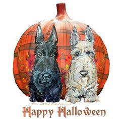 Halloween Pumpkin Scotties