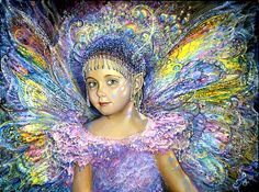 """Fairy Lights by Josephine Wall  As rainbows dance across her face, what trickery is this mischievous fairy planning next?  Is she going to put a tickling spell on those silly elves?, or maybe make rabbits grow wings again..!!  Perhaps she will encourage the baby sparrows to """"Cuckoo"""", just to confuse us..!!  One thing is for sure - she is definitely in the mood to play."""