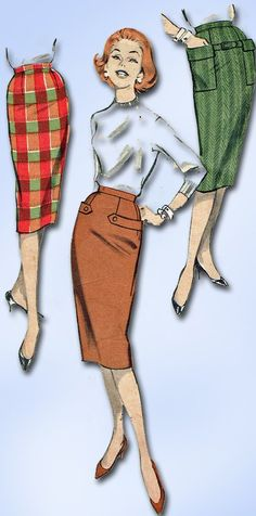 1950s Vintage Butterick Sewing Pattern 8682 Easy Misses Pencil Skirt Sz 24.5 W