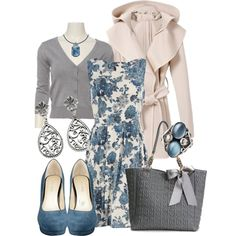 Blue Roses by stylesbyjoey on Polyvore featuring Dorothy Perkins, Nine West, Deux Lux, 1928, Georg Jensen, Swarovski, floral dresses, filigree jewelry, trench coats and bow bags