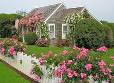 gardening with pots Spring cottage garden. Nantucket english cottage garden borders The Stone Path Cape Cod Cottage, Nantucket Cottage, Nantucket Style, Nantucket Island, Coastal Cottage, Cottage Homes, Coastal Style, Cottage Gardens, Cabins And Cottages