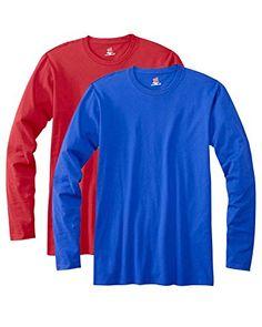 Hanes mens 4.5 oz. 100% Ringspun Cotton nano-T Long-Sleeve T-Shirt(498L)-DEEP RED/NAVY-2XL - http://www.darrenblogs.com/2016/12/hanes-mens-4-5-oz-100-ringspun-cotton-nano-t-long-sleeve-t-shirt498l-deep-rednavy-2xl/