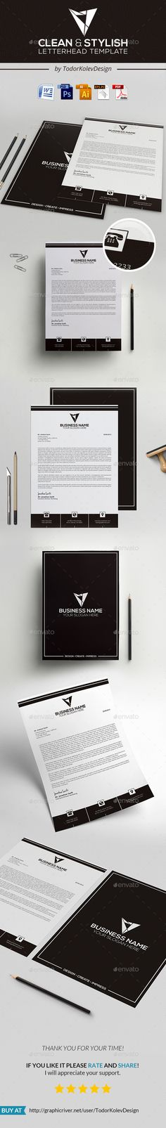 #Letterhead - #Stationery #Print #Templates Download here: https://graphicriver.net/item/letterhead/13480341?ref=alena994
