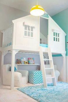 All that white is pretty unrealistic in a kid's room--in my house at least! But I love the bed. I wonder if it's really hard to make...