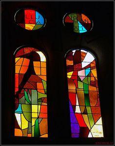 Church window in Sagrade Familia, Barcelona