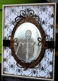 Memory Box dies- Tiffany Frame 98401, Cherise Label 98402, Dancing Skeleton 98374