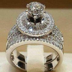 Women crystal white round engagement ring set