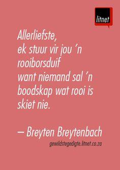 """""""Allerliefste, ek stuur vir jou 'n rooiborsduif"""" - Breyten Breytenbach #afrikaans #gedigte #segoed #quotes"""
