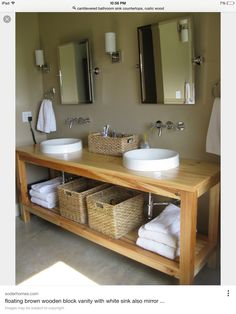 Traditional Clear Coating Vanity Trough Round Sink And Rattan Basket Plus  Wall Mount Faucet On Khaki Painted Wall As Well As 42 Bathroom Vanity Also  Trough ...