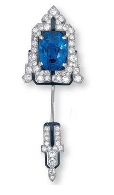 A SAPPHIRE AND DIAMOND JABOT PIN, BY CARTIER. Christie's.