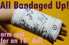 Tutorial: All Bandaged Up! arm cast for an 18″ doll | Sewing | CraftGossip.com