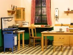 1940s kitchen made by Martin Pearce for Dolls House and Miniature Scene magazine. www.dollshousemag.co.uk