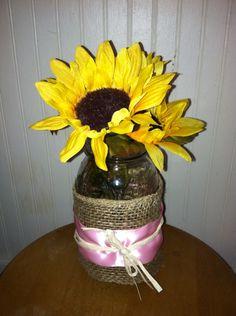 Mason jar, burlap, ribbon, twine and fake flowers