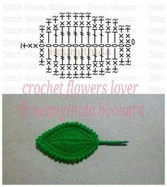 Watch The Video Splendid Crochet a Puff Flower Ideas. Phenomenal Crochet a Puff Flower Ideas. Crochet Leaf Patterns, Crochet Leaves, Form Crochet, Crochet Diagram, Crochet Chart, Crochet Motif, Diy Crochet, Crochet Stitches, Craft Patterns