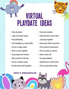 Virtual Playdate Ideas with Free Printable Checklist - Get this free printable list of virtual indoor playdate ideas for kids. Keep your kids feeling busy - Date Activities, Learning Activities, Preschool Activities, Summer Activities, Kindergarten Games, Indoor Activities, Physical Activities, Teaching Ideas, Video X