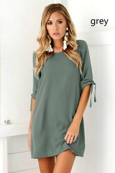 Spring and Summer Women Mini Chiffon Half Sleeve Dress