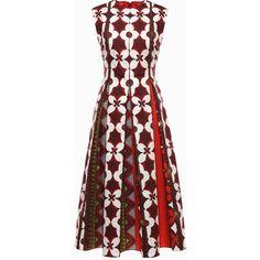 Valentino Printed Panama Cotton Dress ($4,650) ❤ liked on Polyvore featuring dresses, maroon, sleeveless floral dress, floral pleated dress, valentino dress, floral day dress and maroon dress