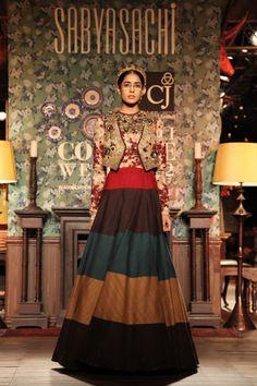 Sabyasachi Delhi Couture Week 2012 #sabyasachi #delhicoutureweek2012 #lehnga #embellished #embroidery #colourblock