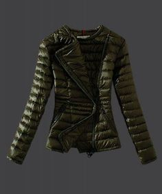 2015 New Moncler Womens Down Jackets Featured Zip Army Green Cheap Outlet