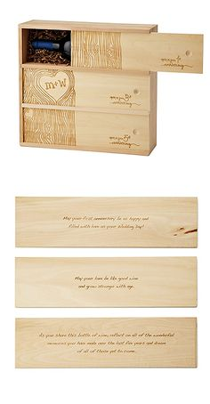 "the box has three separate compartments for wine, to be opened and enjoyed on the couple's 1st, 3rd and 5th anniversaries. engraved along the front is a tree bark pattern, customized with the ""carved"" initials of the happy pair. the box also contains other sweet surprises, such as the words ""love"" and ""adore"" hidden in the tree bark, and special commemorative messages engraved on the back of each sliding panel. made from sustainably harvested, unfinished birch wood."