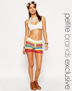 Striped #crochet beach shorts via Outstanding Crochet