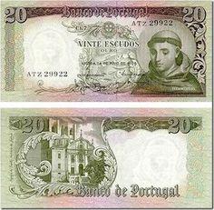 20 Escudos 1964 O antigo dinheiro portugues antes do Euro (Old portuguese many before the Euro)