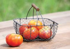 Vintage Inspired Square Wire Basket