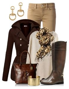 Fall Outfit by kimberlyn303 on Polyvore featuring polyvore, fashion, style, J.TOMSON, Dondup, Tory Burch, Frye, Blue Nile, Gucci, clothing, skinnyjeans, Trench, LeatherBag, cheetascarf and hoodedtrenchcoat