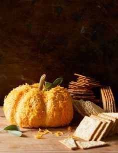 Who says cheese balls have to be round? Shape this one into a cute little pumpkin to match its flavor. It just takes some rubber bands. #cheeseballrecipe #cheeseandcrackers #appetizer #thanksgiving #nobake #bhg Potluck Recipes, Fall Recipes, Appetizer Recipes, Appetizers, Cooking Pumpkin, Canned Pumpkin, Pumpkin Recipes, Pumpkin Cheese Ball Recipe, Cheese Ball Recipes