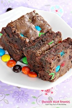Chocolate M&M Brownies | Can't Stay Out of the Kitchen | sensational #brownies filled with #M&Ms.