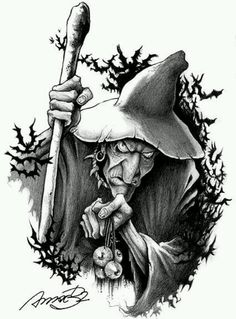 wizard by andrebdois on DeviantArt Wizard Tattoo, Witch Tattoo, Halloween Images, Halloween Art, Halloween Witches, Happy Halloween, Mago Tattoo, Illustrations, Illustration Art