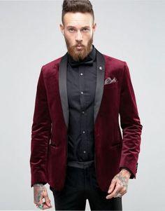 ASOS Skinny Blazer In Burgundy Velvet at ASOS. Velvet Blazer Mens, Red Velvet Suit, Velvet Jacket, Pant Shirt, Blazer Dress, Blazer Outfits Men, Mens Fashion Blazer, Mode Masculine, Vestidos