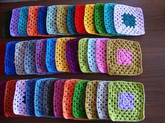 Great for scrap yarn and will eventually make a cool-ass blanket :) Crochet Home, Love Crochet, Crochet Granny, Learn To Crochet, Knit Crochet, Crochet Needles, Crochet Stitches, Knitting Patterns, Crochet Patterns