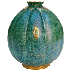 Swedish art deco ceramic vase by Josef Ekberg, Gustavsberg 1937  Sweden  1930's  Swedish Art Deco hand decorated ceramic vase from Gustavsberg. Designed and signed by Josef Ekberg, 1937, in a blue-green luster glaze with details in gold.