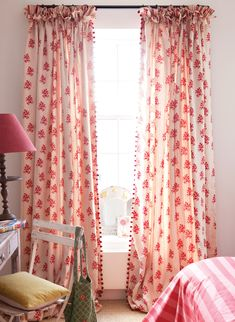 Kate Forman fabric on curtains. Contrasting stripe added as contrast in ruffled header Girl Room, Girls Bedroom, Bedroom Decor, Curtains With Blinds, Drapes Curtains, Drapery, Pom Pom Curtains, Bright Curtains, Pattern Curtains
