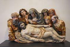 Esteban Jordan, Lamentation sur le Christ mort   1567-1600,  Bois polychrome,  77 x 131 x 20 cm,  Provenance : Eglise de San Juan, Valladolid,  Musée national de Sculpture, Valladolid