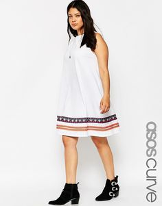 ASOS CURVE Swing Dress with Embroidered Tape Detail