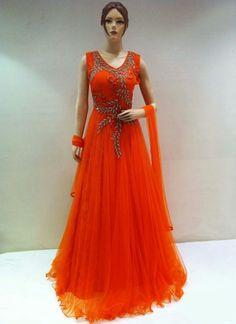 Orange Net Designer IndoWestern Dress