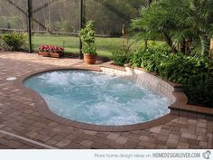 This small swimming pool with spa may be enough for the homeowner to experience the stress-free area in the yard.