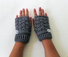Gray Crochet Fingerless Gloves Eco Friendly by TampaBayCrochet