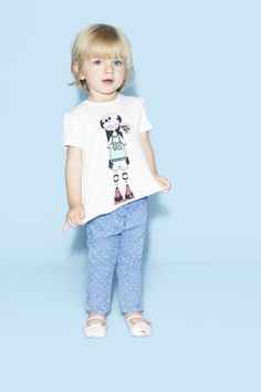 Kids look - printed tee shirt with white polka-dots printed trousers - LMJ - SS15